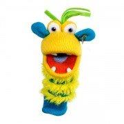Marionnette à doigts chaussettes Ringo jaune et bleu 15cm
