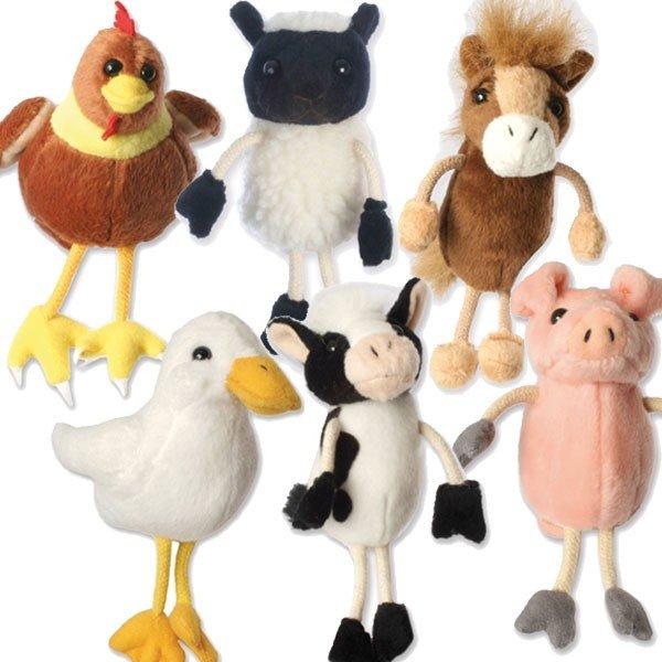 Super Marionnette à doigts Animaux de la Ferme, vache, poule, cheval, cochon AD99