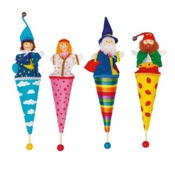 4 Marottes marionnettes personnages au bout d'un bâton, 24cm