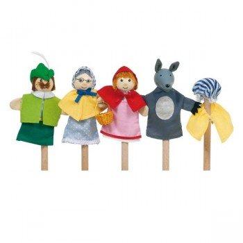 """4 Marionnettes à doigts tête en bois """"Le petit chaperon Rouge"""", 10cm"""