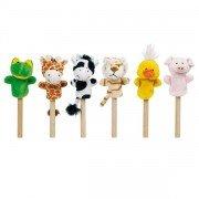 6 petites marionnettes à doigts animaux 8cm