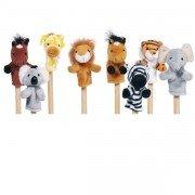 8 petites marionnettes à doigts animaux sauvages 8cm