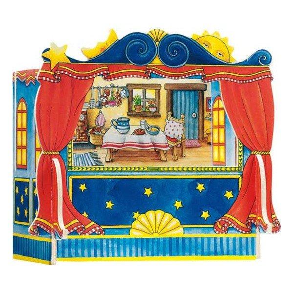 Th tre de marionnette doigts en bois avec 5 d cors 28cm marionnettes enfants - Marionnettes a doigts a imprimer ...