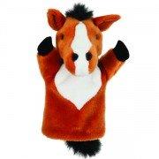 Marionnette enfant Cheval marron à main 25cm
