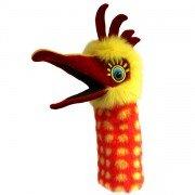 Marionnette Oiseau avec couineur jaune rouge