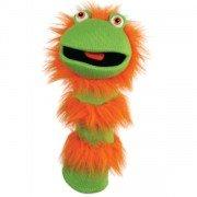 Marionnette chaussettes à bras Ginger vert et orange 40cm.