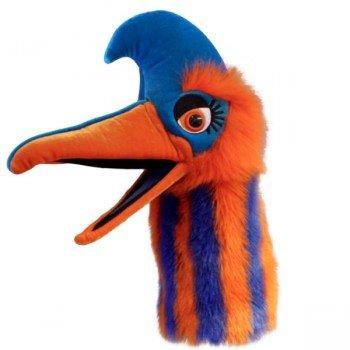 Grande marionnette t te d 39 oiseau orange et bleu avec for Oiseau bleu et orange