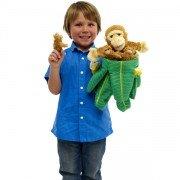Marionette Singe dans un arbre avec 3 bébés et trois bananes