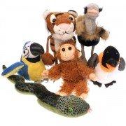 6 Marionnettes à doigts les animaux du Zoo 14cm