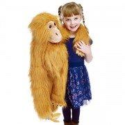Géante Marionnette Singe orange Orang-outan,  avec banane et bouche articulée