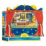 Théâtre de marionnette à doigts en bois avec 5 décors 28cm