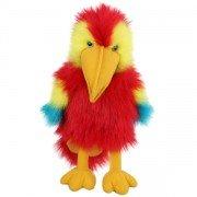 Marionnette oiseau Perroquet rouge avec bruiteur et bouche articulée, 30 cm