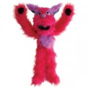 Marionnette Grand Monstre rose et mauve avec couineur à air dans la bouche